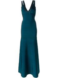 Herva La Ger Embellished V Neck Gown Blue