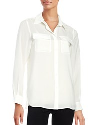 French Connection Button Down Collared Sheer Blouse White