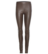 Helmut Lang Leather Trousers Brown