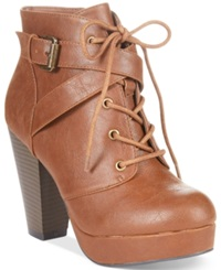 Material Girl Rhodes Lace Up Platform Booties Women's Shoes