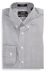 Men's Big And Tall Nordstrom Non Iron Classic Fit Gingham Dress Shirt Grey Castlerock