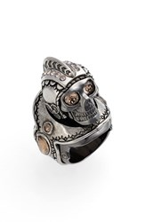 Alexander Mcqueen Women's 'Armour' Large Skull Ring Black