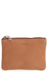 Baggu Women's Leather Zip Pouch Brown Saddle