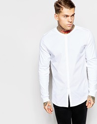 Aka Longline Shirt With Jersey Sleeves And Grandad Collar White