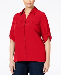 Ny Collection Plus Size Crepe Utility Blouse Scarlet Sage