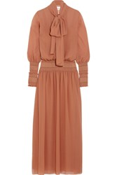 See By Chloe Pussy Bow Chiffon Maxi Dress Antique Rose
