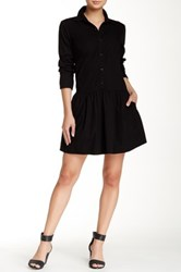 Splendid Cotton Collection Long Sleeve Shirtdress Black