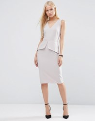 Asos Sleeveless Pencil Dress With Peplum Detail Grey
