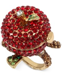 Betsey Johnson Gold Tone Pave Apple Keepsake Ring Ruby