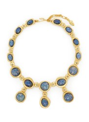Kenneth Jay Lane Opalescent Glass Cabochon Necklace Metallic Blue