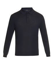 Ermenegildo Zegna Long Sleeved Cashmere Blend Polo Shirt