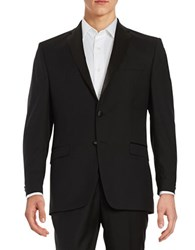 Lauren Ralph Lauren Wool Two Button Tuxedo Jacket Black