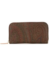 Etro Abstract Print Zipped Wallet Brown