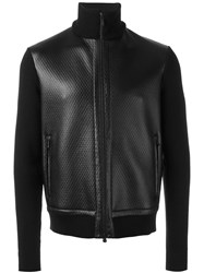 Z Zegna Leather Panel Knitted Jacket Black