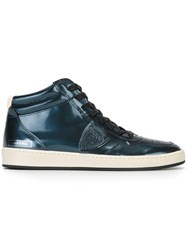Philippe Model Metallic Hi Top Sneakers Blue