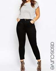 Asos Curve Ridley Ankle Grazer Jeans In Clean Black Black