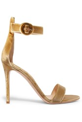 Gianvito Rossi Velvet Sandals Gold