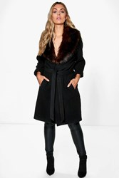 Boohoo Meg Robe Coat With Faux Fur Shawl Collar Black