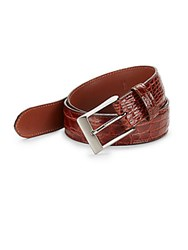 Saks Fifth Avenue 35Mm Crocodile Leather Belt And Keychain Gift Set Cognac