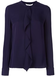 Diane Von Furstenberg Ruffle Front Blouse Pink And Purple