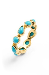 Melinda Maria 'Isla' Stackable Band Ring Gold Turquoise