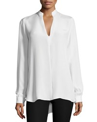 Joseph Long Sleeve Silk Split Back Tunic Off White