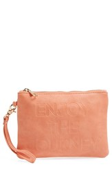 Under One Sky Faux Leather Clutch And Portable Charger Coral