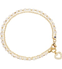 Astley Clarke Heart Rose Quartz Friendship Bracelet Gold With Pink
