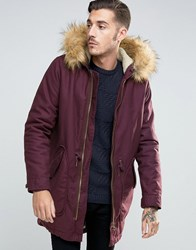 Asos Parka Jacket In Burgundy With Faux Fur Lining Burgundy Red