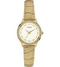 Guess W0648l3 Chelsea Gold Plated Stainless Steel And Leather Watch