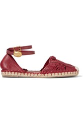 Valentino Woven Leather Espadrilles Burgundy