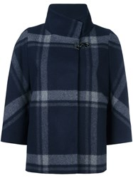 Fay Checked Cape Blue