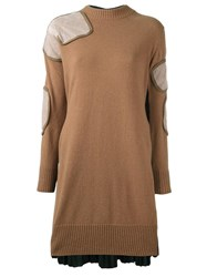 Sacai Patch Applique Knitted Dress Brown