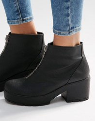 Asos Rookie Zip Front Ankle Boots Black