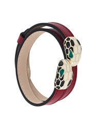 Bulgari Snake Embellished Double Bracelet Red