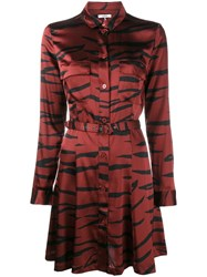 Ganni Tiger Print Shirt Dress Red