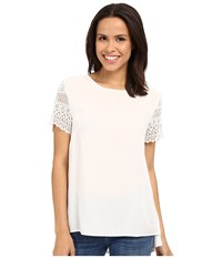 Dylan By True Grit Dreamcatcher Short Sleeve Lace Sleeve Blouse Perfect White Women's Short Sleeve Pullover