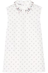 Miu Miu Crystal Embellished Printed Cotton Poplin Shirt White
