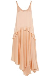Stella Mccartney Yenna Tiered Silk Satin Dress Orange