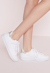 Missguided Silver Tab Tennis Trainers White White