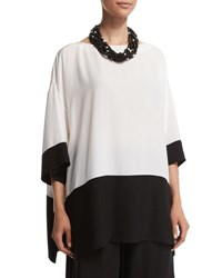 Eskandar 3 4 Sleeve Colorblock Long Tunic Black White Black White