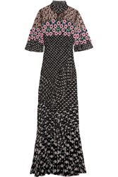 Peter Pilotto Lace Paneled Floral Print Silk Georgette Gown Black Pink
