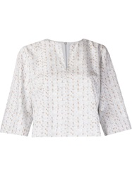Andrea Marques Woven Print Cropped Blouse White