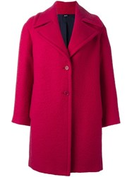 Jil Sander Navy Single Breasted Woven Coat Pink And Purple