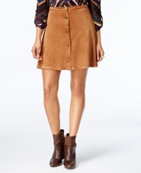 Ny Collection Petite Faux Suede A Line Skirt Elm Camel