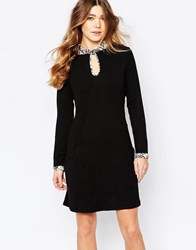 Traffic People Marianna Dress With Rose Print Trim Black