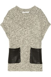 Thakoon Leather Trimmed Chunky Knit Sweater Black