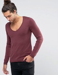 Asos Muscle Fit Jumper With Deep V Neck Burgundy Red