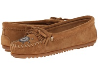 Minnetonka Me To We Maasai Mocs Taupe Suede Women's Slippers