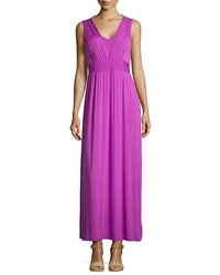 Neiman Marcus Braided Waist Sleeveless Maxi Dress Neon Purple